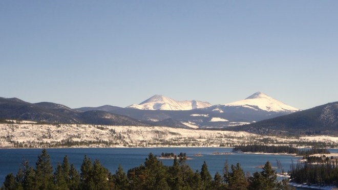 Looking south towards Mount Guyot across the water of Lake Dillon