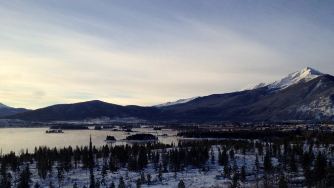 Sunrise over Lake Dillon, the town of Frisco, and the Northern ten mile range