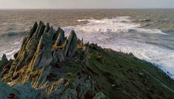 Waves crashing against Morte Point on the North Devon Coast