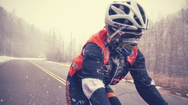 Christa Descending South Saint Vrain Canyon in a snow storm