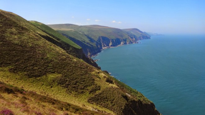 Trentishoe Down is one of the highest points along the coast. This is looking west towards the Hangman Cliffs and Combe Martin