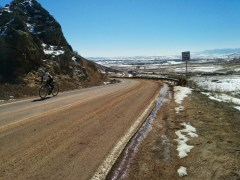 Christa and I rode up Rabbit Mountain - plenty of snow on the ground but warm temperatures