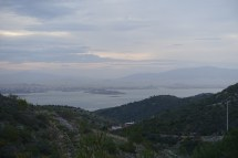 View from the island towards Athens. Lots of ships in the port