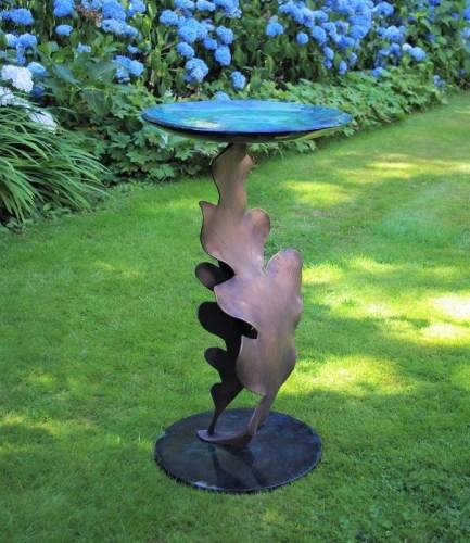 Bird bath feeder Oak leaf in bronze.