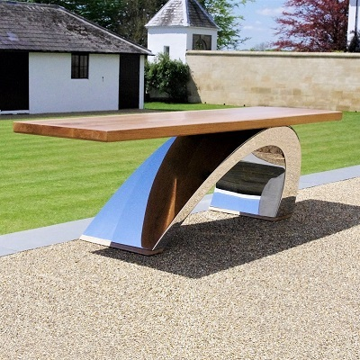 Sculptural metal bench