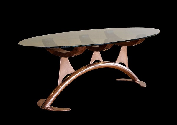 Glass oval coffee table high-end bespoke furniture.
