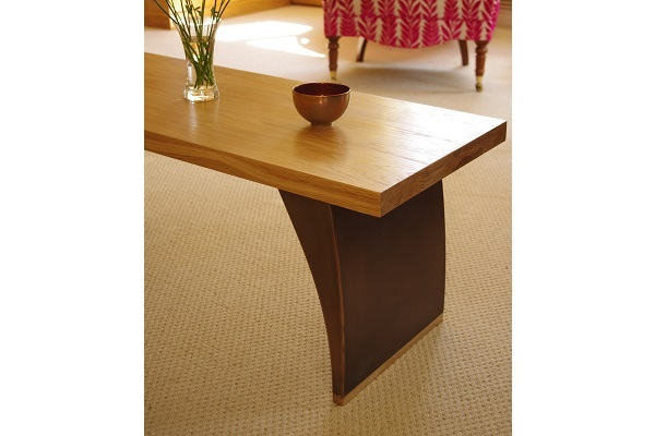 Wooden coffee table oak and bronze.