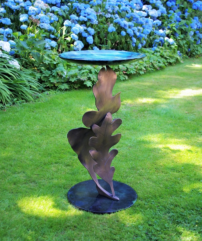 Oak Leaf bird bath