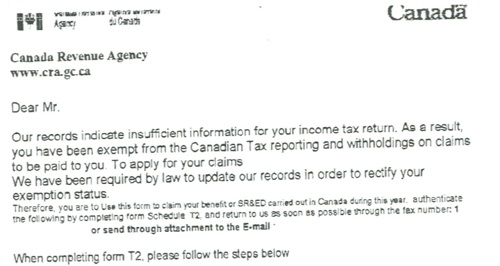 Canada Revenue Agency Scam