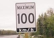 100 km/h Highway Sign