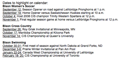 University of Manitoba Bisons 2009-2010 Schedule