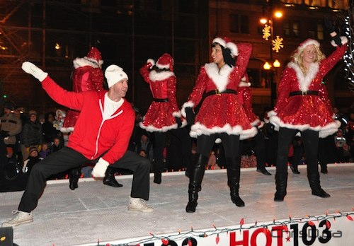 Grand Marshall and Hot 103 morning host Ace Burpee leads the 101st Santa Claus Parade down Portage Avenue on Saturday, November 13, 2010. (MAURICE BRUNEAU / CHRISD.CA)