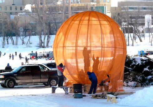 """This unique orange warming hut called """"Sunspot,"""" was designed by 5468796 Architecture Inc. and sat on the river trail last season. (KATHY50 / FLICKR)"""