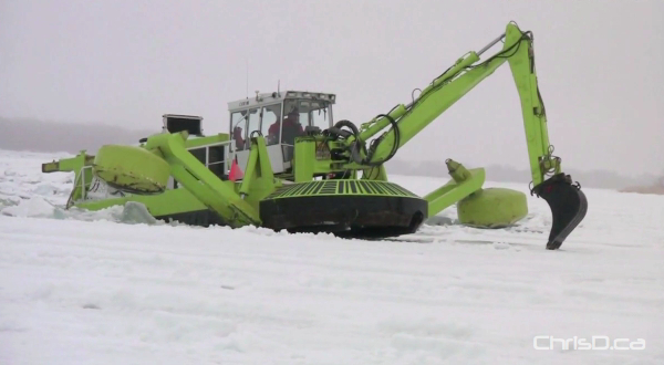 The Province of Manitoba has invested in a third Amphibex icebreaker, similar to the one shown in this March 9, 2010 file photo in Breezy Point. (CHRISD.CA)