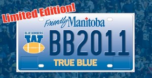 Manitoba Public Insurance will soon offer football fans the ability to purchase a special Winnipeg Blue Bombers licence plate. (BLUEBOMBERS.COM)