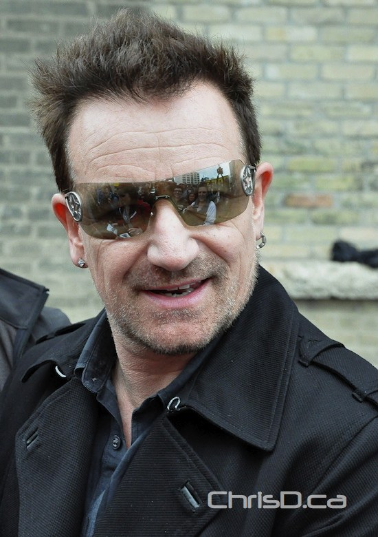 Bono, lead vocalist for Irish rock band U2, arrives at the Burton Cummings Theatre in Winnipeg on Friday, May 27, 2011. (MAURICE BRUNEAU / CHRISD.CA)