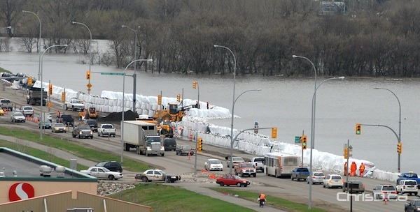Super sandbags line 18th Street in Brandon to hold back the Assiniboine River in this May 2011 file photo. (STAN MILOSEVIC / CHRISD.CA)