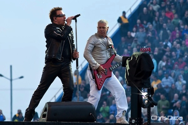 U2 lead singer Bono and bassist Adam Clayton perform Sunday, May 29, 2011. The Irish rockers played to a sold out crowd at Canad Inns Stadium in Winnipeg. (TED GRANT / CHRISD.CA)