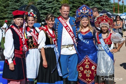 Ambassadors with the Warsaw Russia Pavilion assemble for the opening ceremonies of Folklorama at The Forks on Saturday, July 30, 2011. (TED GRANT / CHRISD.CA)