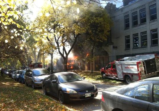 Part of Laura Secord School in Wolseley burst into flames on Wednesday, October 5, 2011. (ERICA GLASIER / TWITTER)