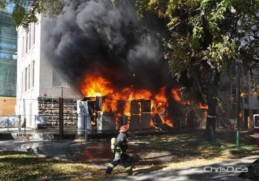 Part of Laura Secord School in Wolseley burst into flames on Wednesday, October 5, 2011. (MAURICE BRUNEAU / CHRISD.CA)