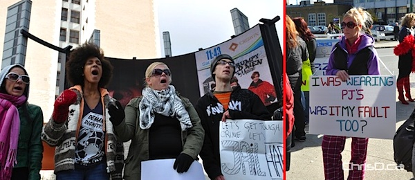 Participants in the Occupy Winnipeg (left) and SlutWalk (right) protests make their voices heard on Saturday, October 15, 2011. (MAURICE BRUNEAU / CHRISD.CA FILE)
