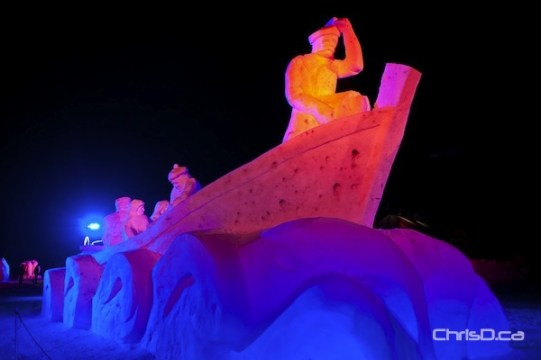 Flood lights add ambience to Voyageur Park's many snow sculptures. (TED GRANT / CHRISD.CA)