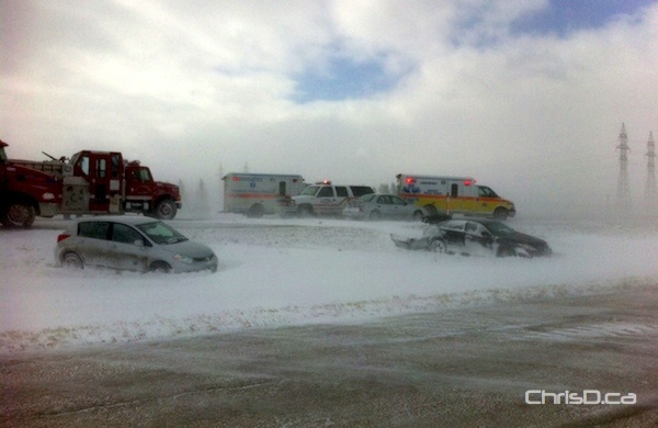 Several cars landed in the ditch after a multi-vehicle crash on the Trans-Canada Highway near Headingley on Thursday, March 8, 2012. (STAN MILOSEVIC / MANITOBAPHOTOS.COM)