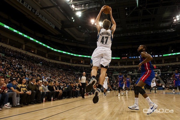 Minnesota Timberwolves forward Andrei Kirilenko jumps for the ball at MTS Centre on Wednesday, October 24, 2012 in an exhibition game against the Detroit Pistons. (TED GRANT / CHRISD.CA)