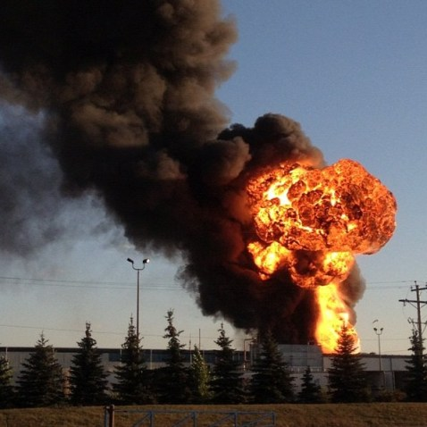 An explosion at Speedway International on Nicolas Avenue sends flames shooting through the air in St. Boniface on Monday, October 1, 2012. (JAYMOHZ / INSTAGRAM)