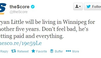 theScore's Jets Tweet Irks 'Peggers