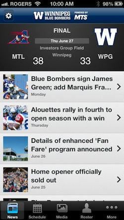 Winnipeg Blue Bombers App