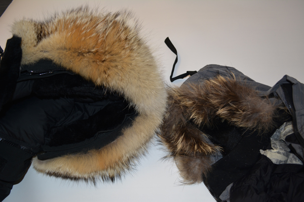 An authentic coat, left, and the fake, right, on display at RCMP headquarters on Dec. 19, 2013. (RCMP/HANDOUT)