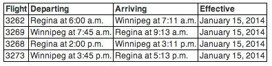 WestJet Encore - Winnipeg and Regina