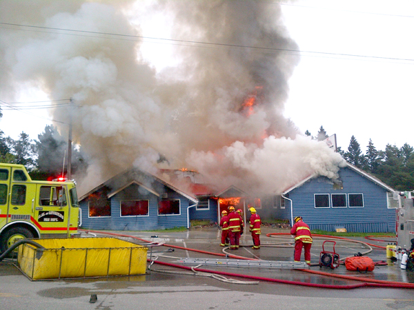 The West Hawk Inn burns on Friday, August 29, 2014. (RCMP/HANDOUT)