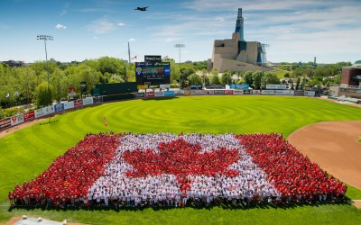 Thousands Gather to Form Canada Day 'Living Flag' in Downtown Winnipeg
