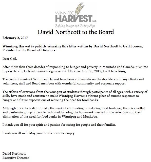 David Northcott Retirement Letter