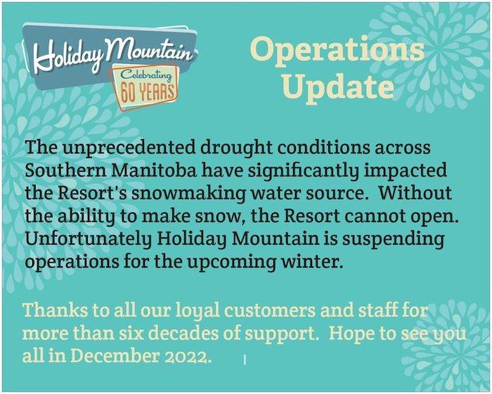 Holiday Mountain Closure
