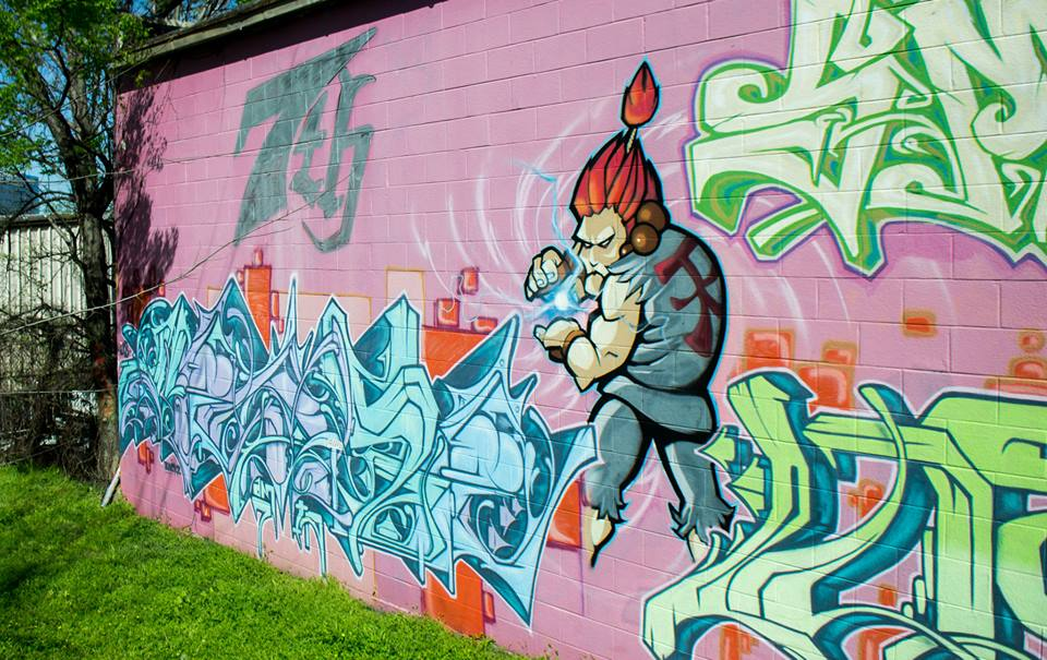 Street Fighter Yazoo Brewery Mural Graffiti Nashville
