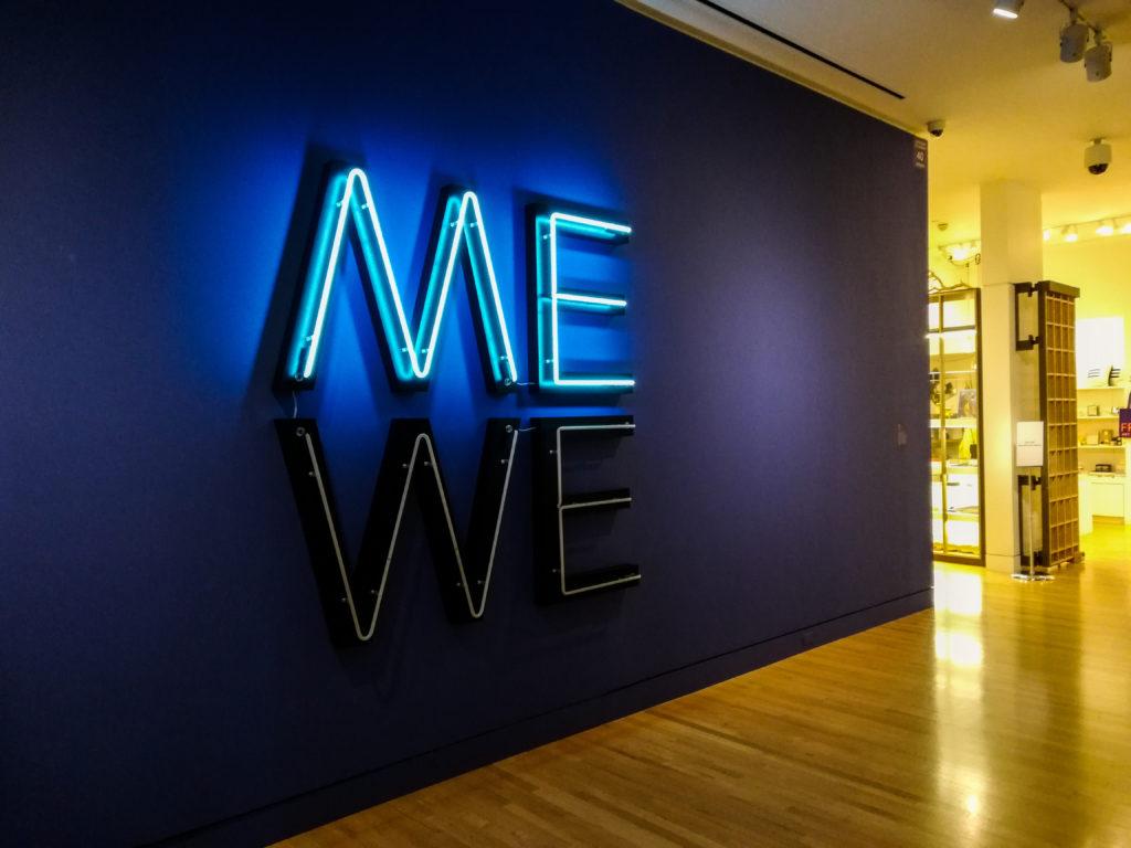 Me We neon light Glen Ligon Frye Art Museum