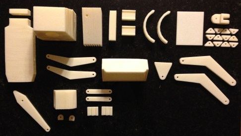 The printed components for the backhoe