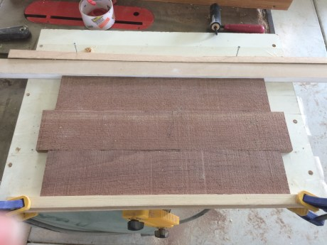 I left the boards' surfaces rough-sawn and offset the top and bottom for that old-timey look.