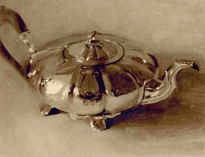 Christopher Gallego, Teapot, 1997, Oil on board, 9 x 12 in., Private Collection