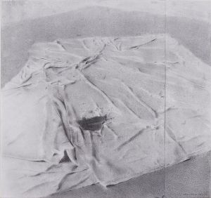 Christopher Gallego, American b. 1959, Drop Cloth, Upstate Studio, 2008, Charcoal and graphite on paper, 17 x 18 in.