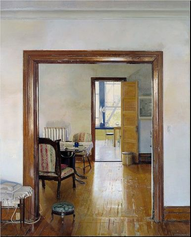 Christopher Gallego, American b. 1959, Interior with Three Rooms 2000, Oil on canvas, 90 x 72 in., New Britain Museum of American Art