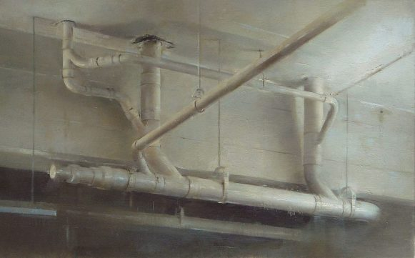 Christopher Gallego, American, b. 1959, Ceiling Pipes, 2012, Oil on canvas, 14 x 23 in.