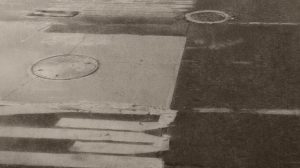 Christopher Gallego, American, b. 1959, 10th avenue crosswalk, 2012, charcoal & graphite on paper, 15.5 x 23 in.
