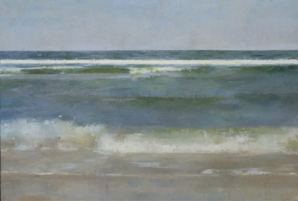 Christopher Gallego, American, b. 1959, Surf #2, 2016, oil on board, 9 x 12 in., Sold