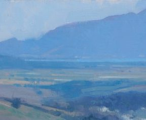 "Christopher Gallego Blog, Featured Artist-Frank Hobbs, Italy – Western Coast Near Porto Ercole 2015 oil on canvas 8"" x 19"""