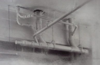 Ceiling Pipes, 2011 Charcoal & graphite on paper, 14 x 17 in. $4000 Framed